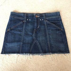 Levi's Denim Notched Frayed Raw Hem Mini Skirt-27